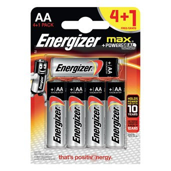 Energizer Max Aa Batteries 4+1 (ENERLR6B4-1FREEMAX)